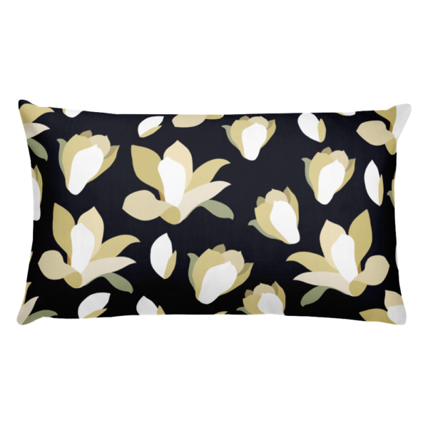 Throw Pillow White Lilies on Black (18x18) | Binge Store